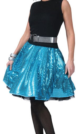 Blue Sequined Disco Skirt Adult Costume