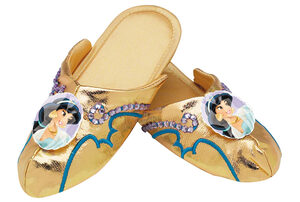 Girls Gold Princess Jasmine Slippers