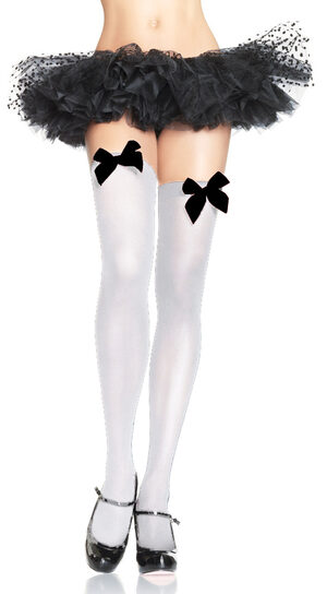 Womens White Thigh High Stockings With Black Bow