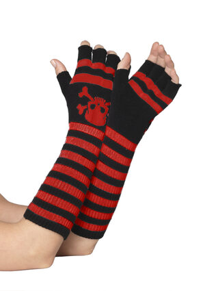 Black and Red Striped Fingerless Gloves with Skull Print
