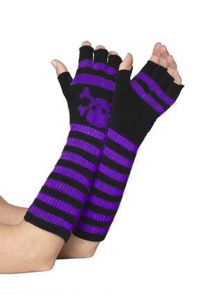 Black and Purple Striped Fingerless Gloves with Skull Print