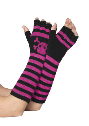 Black and Pink Striped Fingerless Gloves with Skull Print