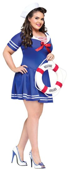 Womens Anchors Away Sexy Plus Size Sailor Costume