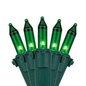 "50 Premium Green Mini Halloween Lights, 4"" Spacing, Green Wire"