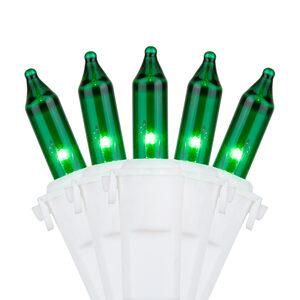 "50 Premium Green Mini Halloween Lights, 4"" Spacing, White Wire"