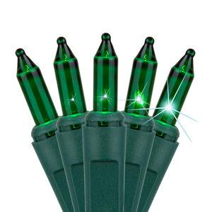 "140 Green Chasing Mini Halloween Lights, 4"" Spacing, Green Wire"