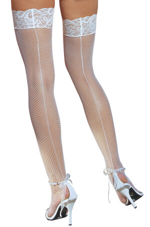 White Fishnet Thigh High Stocking