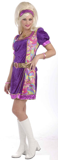 Womens Funky Time 60s Adult Costume