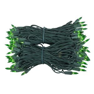 "100 Green Mini Halloween Lights, 6"" Spacing, Green Wire"