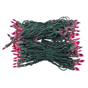 "100 Purple Mini Halloween Lights, 6"" Spacing, Green Wire"