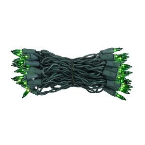 "35 Green Mini Halloween Lights, 4"" Spacing, Green Wire"