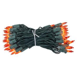 "50 Premium Amber Mini Halloween Lights, 4"" Spacing, Green Wire"