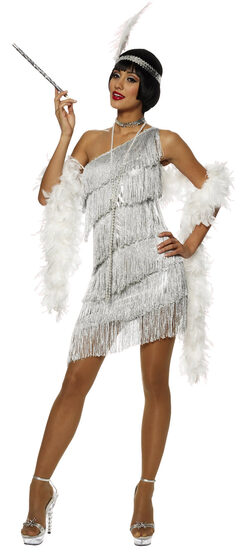 Sexy Silver Dazzling Flapper Costume