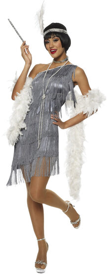 Sexy Dazzling Gray Flapper Girl Costume