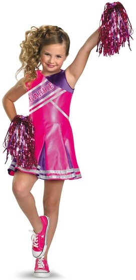 Girls Cheerleader Barbie Kids Costume
