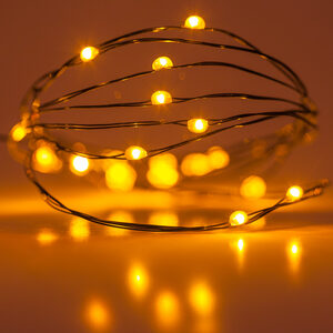 18 Amber Battery Powered LED Fairy Lights, Green Wire
