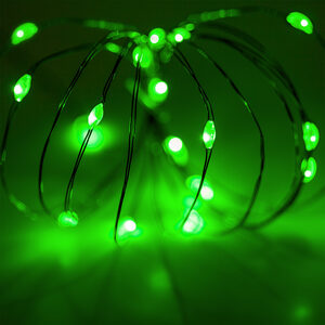 18 Green Battery Powered LED Fairy Lights, Green Wire