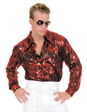Red Flame Disco Shirt Adult Costume