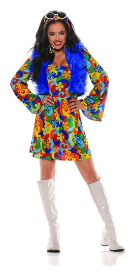 60's Groovy Flowered Go Go Adult Costume