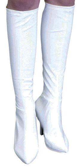 White Vinyl Knee High Boot Covers