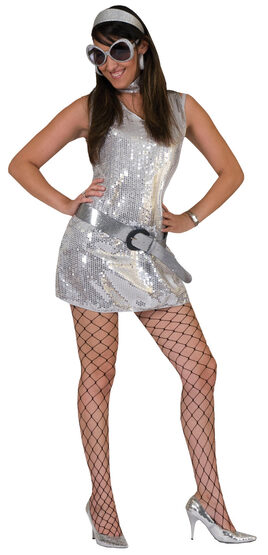 Sexy Silver Sequined Disco Costume