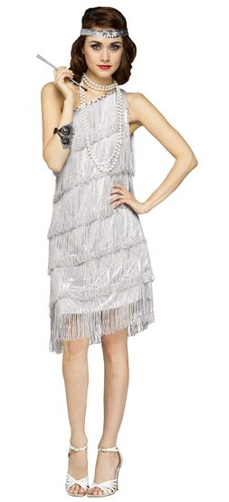 Silver Shimmery Flapper Adult Costume