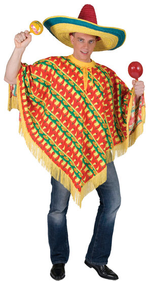 Fiesta Mexican Poncho Adult Costume