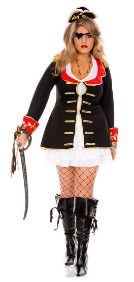 Cute Pirate Captain Plus Size Costume
