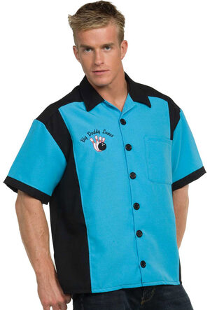 Mens Turquoise Bowling 50s Adult Costume
