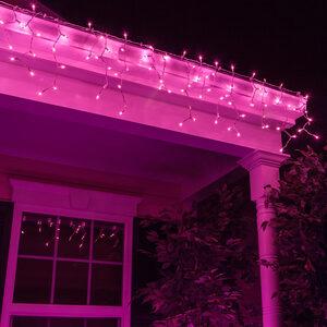 100 Mini Purple Icicle Lights, White Wire