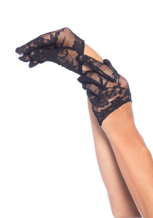 Mini Black Cropped Lace Gloves