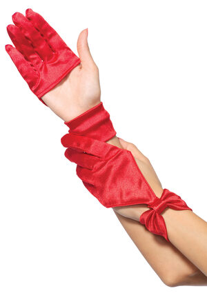 Red Satin Cut Out Gloves with Bow