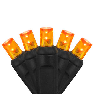 70 5mm Amber LED Halloween Lights on Black Wire