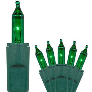 "50 Green Mini Halloween Lights, 6"" Spacing, Green Wire"