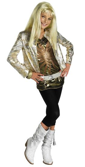 Hannah Montana Kids Costume with Gold Jacket And Wig