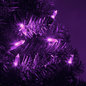 50 T5 Purple LED Halloween Lights on Green Wire