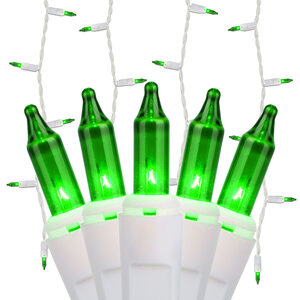100 Mini Green Icicle Lights, White Wire
