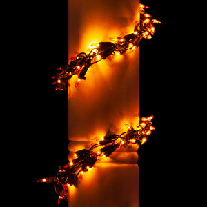 9' Garland Lights, 300 Amber Lamps, Black Wire